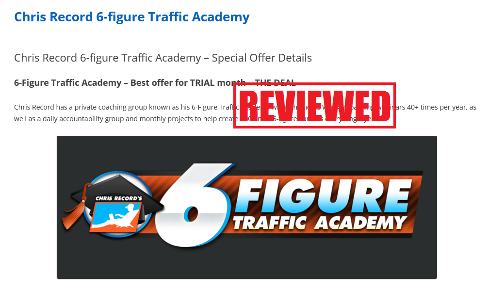 what is the 6 figure traffic academy