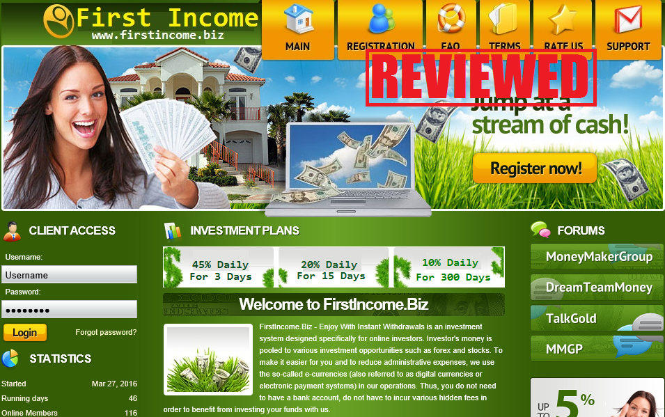 What is the First Income biz